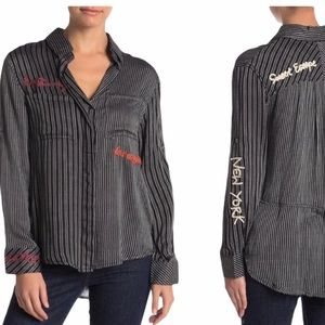 Vintage Havana Striped Embroidered Shirt Small